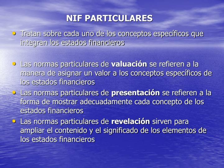 NIF PARTICULARES