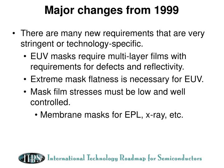 Major changes from 1999
