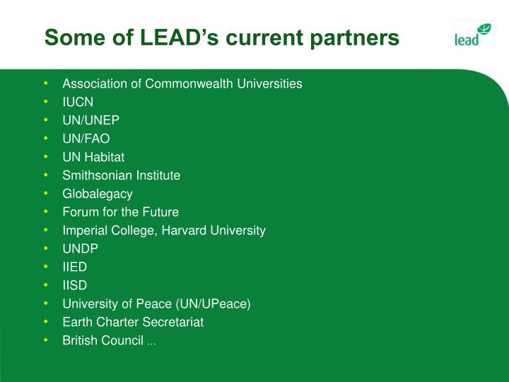 Some of LEAD's current partners