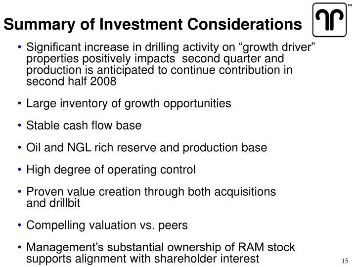 Summary of Investment Considerations