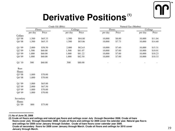 Derivative Positions