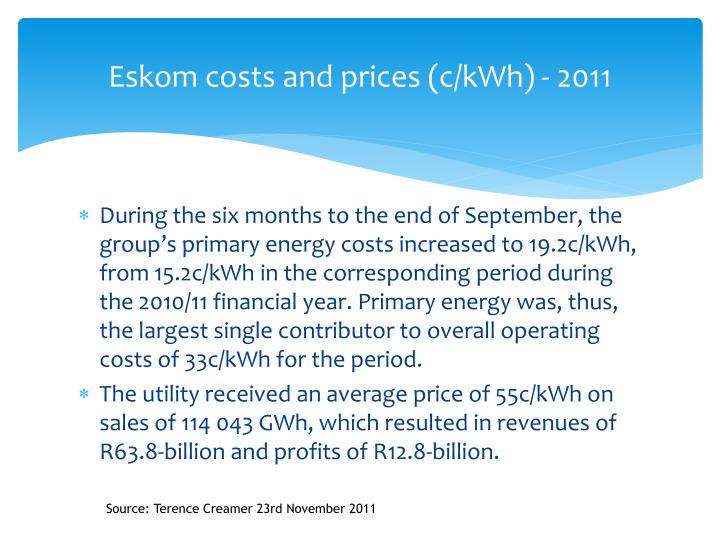 Eskom costs and prices (c/kWh) - 2011