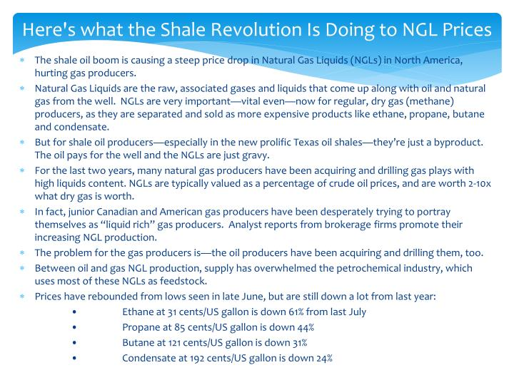 Here's what the Shale Revolution Is Doing to NGL Prices