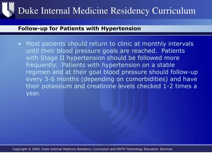 Follow-up for Patients with Hypertension