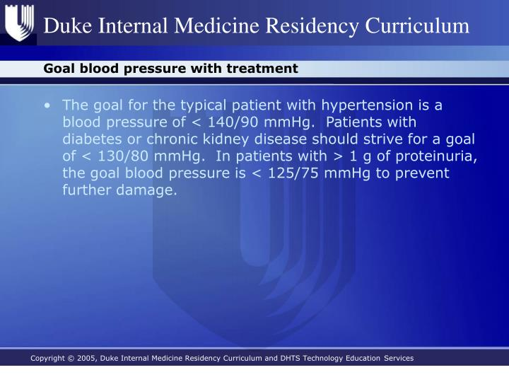 Goal blood pressure with treatment