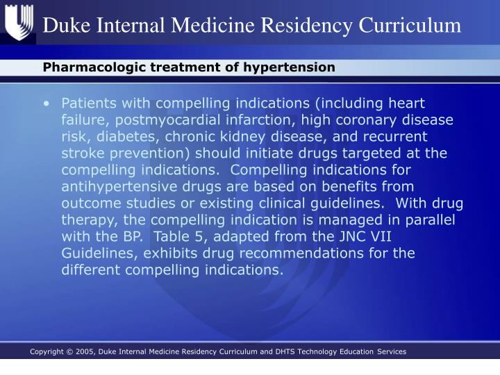 Pharmacologic treatment of hypertension