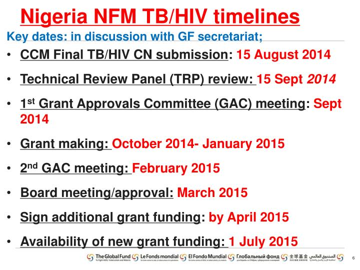 Nigeria NFM TB/HIV timelines