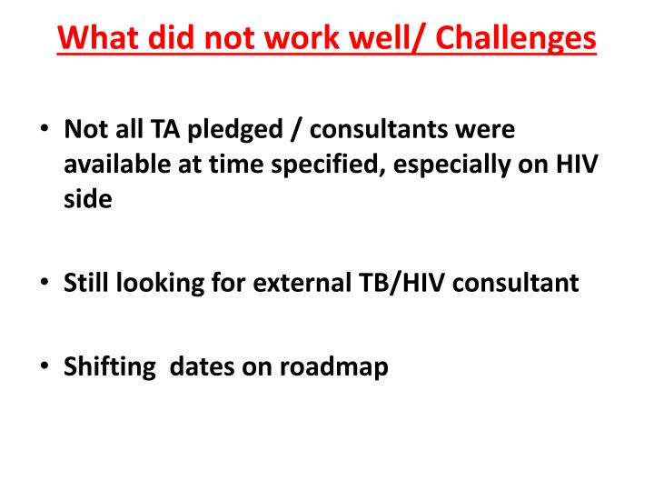 What did not work well/ Challenges