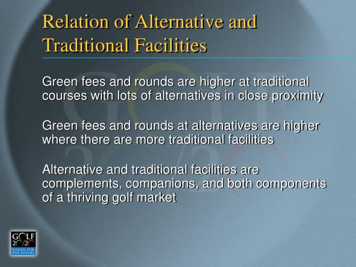 Relation of Alternative and Traditional Facilities