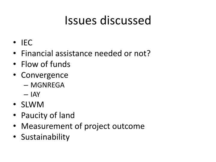 Issues discussed