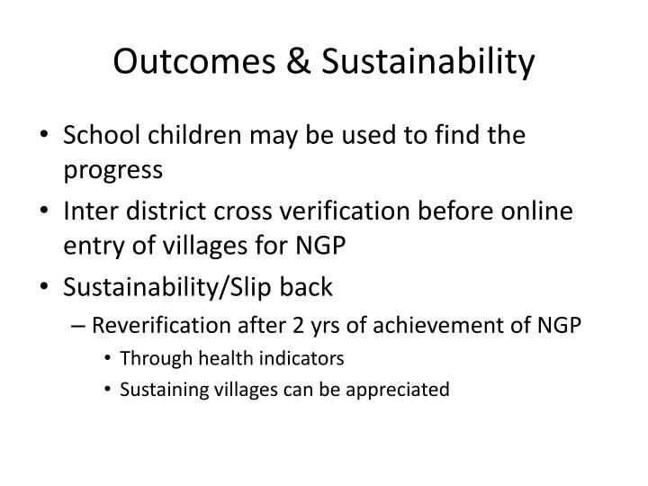 Outcomes & Sustainability