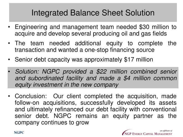 Integrated Balance Sheet Solution