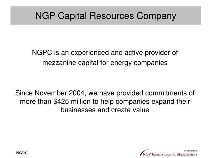 Ngp capital resources company