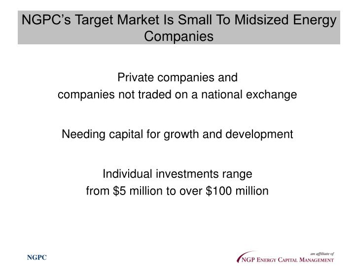 NGPC's Target Market Is Small To Midsized Energy Companies