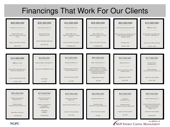 Financings That Work For Our Clients