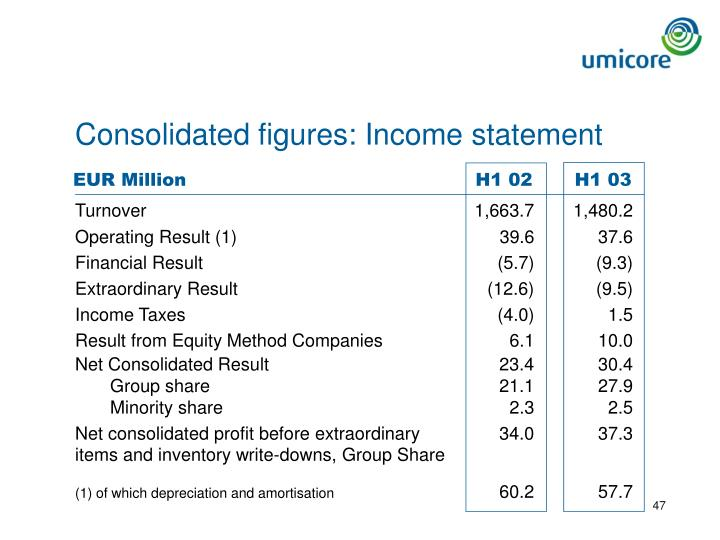 Consolidated figures: Income statement