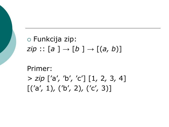 Funkcija zip: