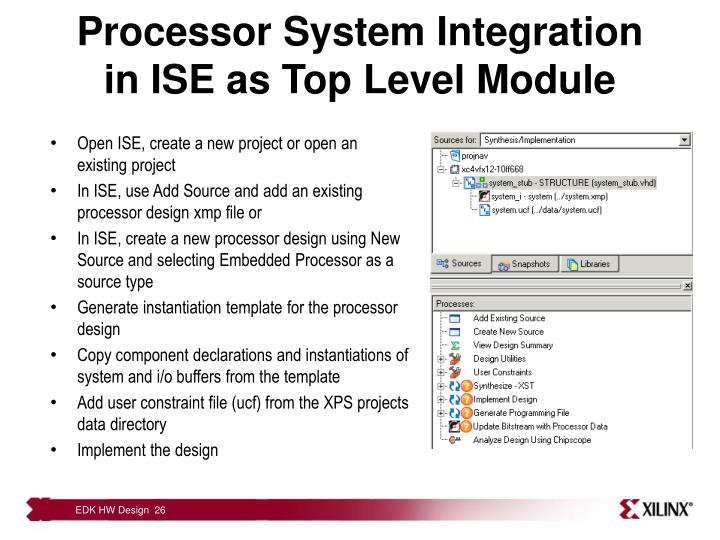 Processor System Integration in ISE as Top Level Module