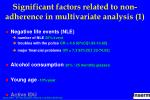significant factors related to non adherence in multivariate analysis 1