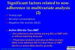 significant factors related to non adherence in multivariate analysis 2