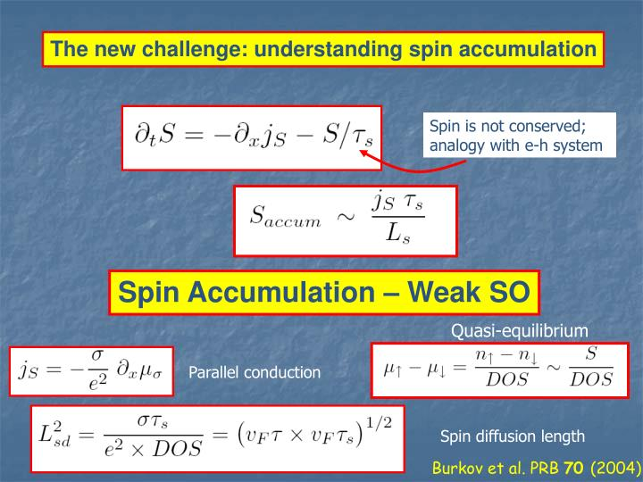 The new challenge: understanding spin accumulation