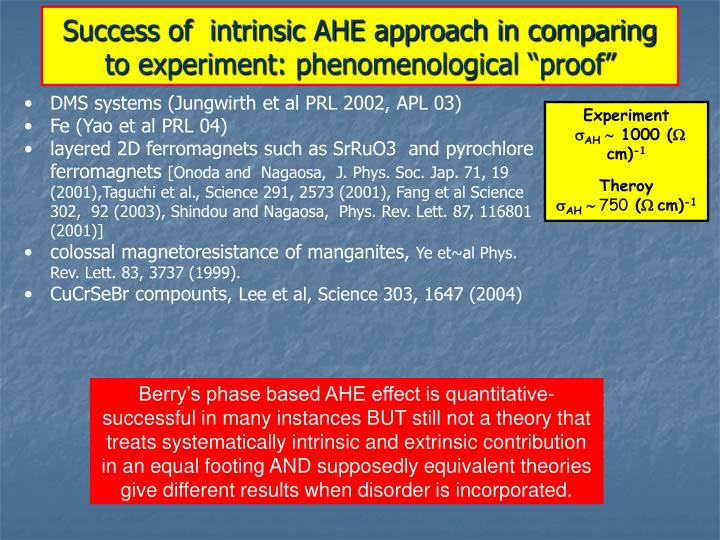 "Success of  intrinsic AHE approach in comparing to experiment: phenomenological ""proof"""