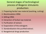 g eneral stages of technolog ical process of biogenic stimulants production