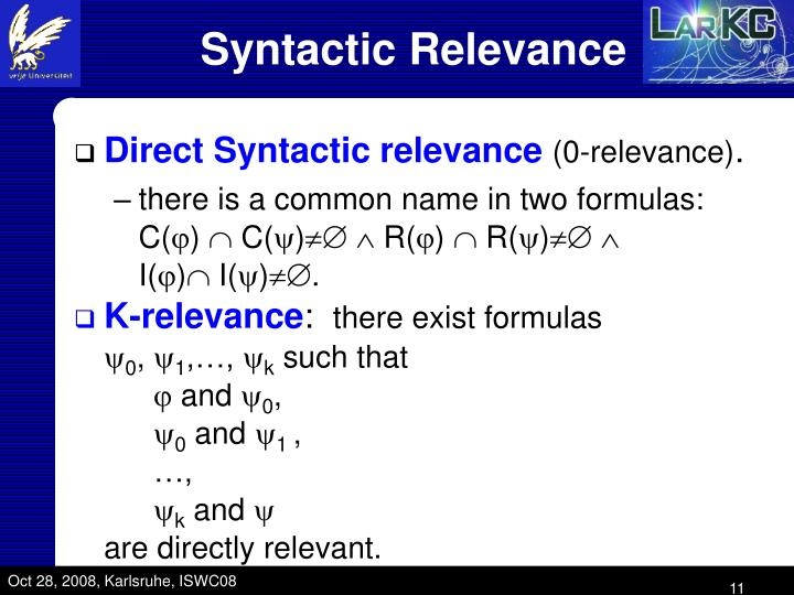 Syntactic Relevance