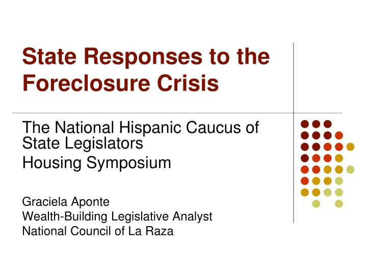 state responses to the foreclosure crisis n.