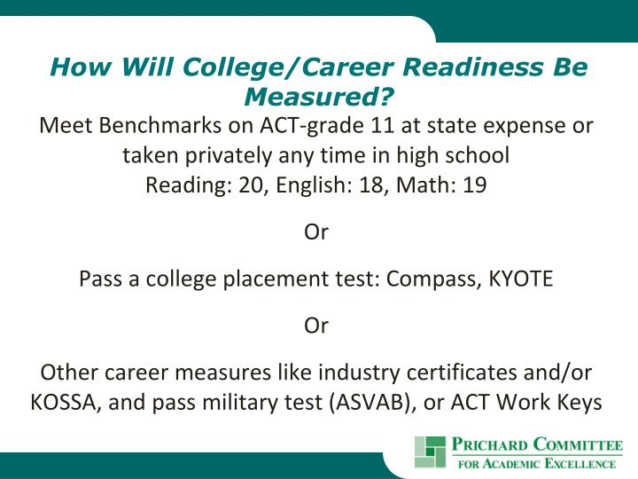 How Will College/Career Readiness Be Measured?