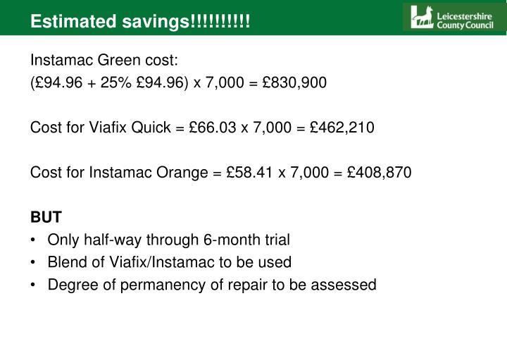 Estimated savings!!!!!!!!!!