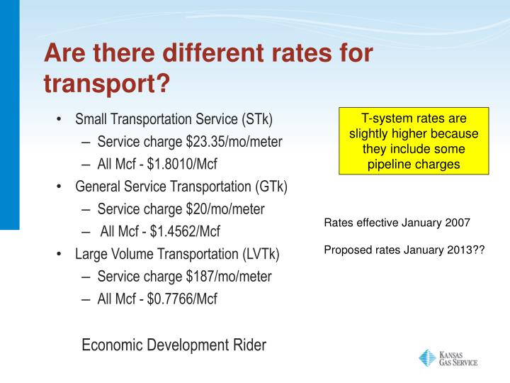 Are there different rates for transport?