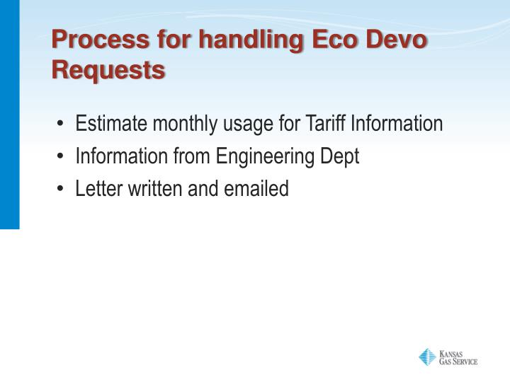 Process for handling Eco