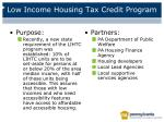 low income housing tax credit program