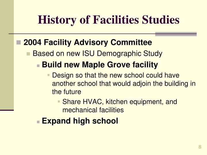 History of Facilities Studies