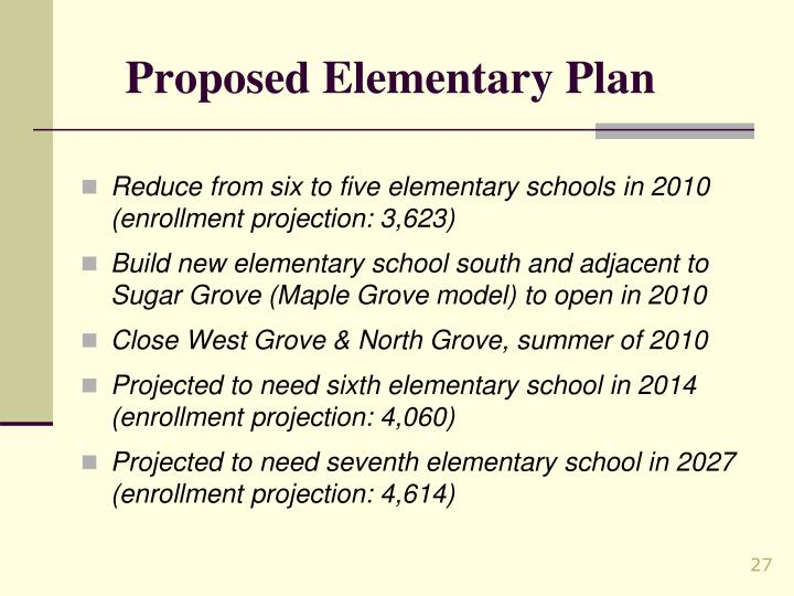 Proposed Elementary Plan