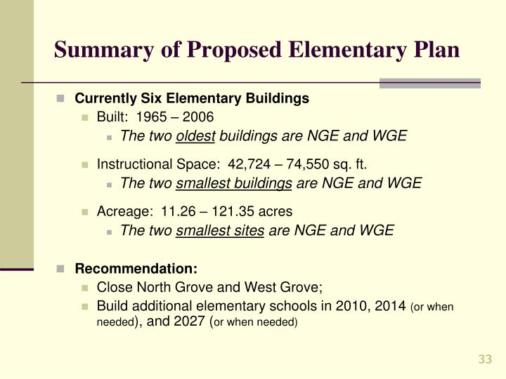 Summary of Proposed Elementary Plan