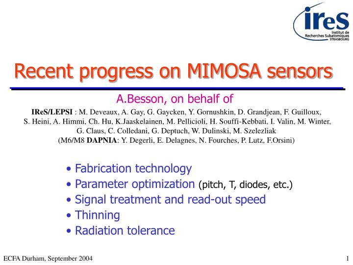 recent progress on mimosa sensors n.