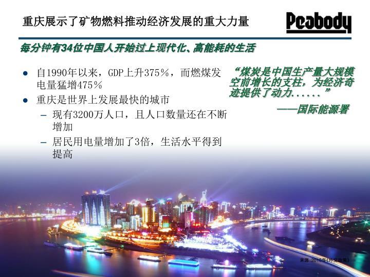 重庆展示了矿物燃料推动经济发展的重大力量