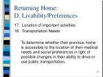 returning home d livability preferences