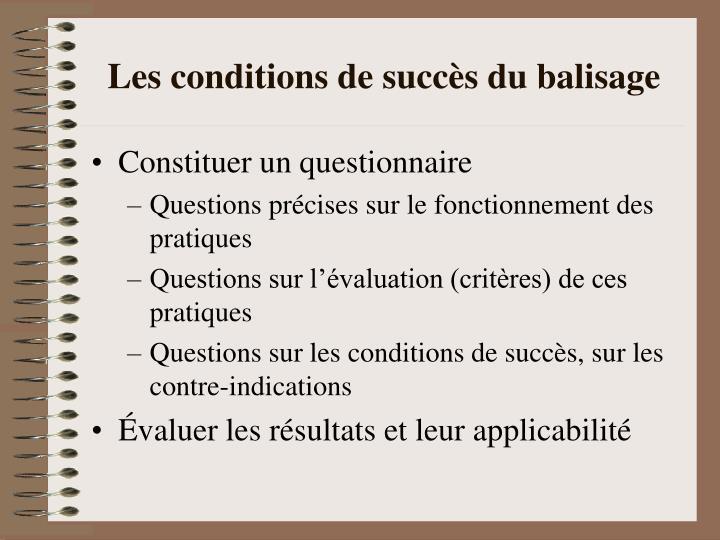 Les conditions de succès du balisage