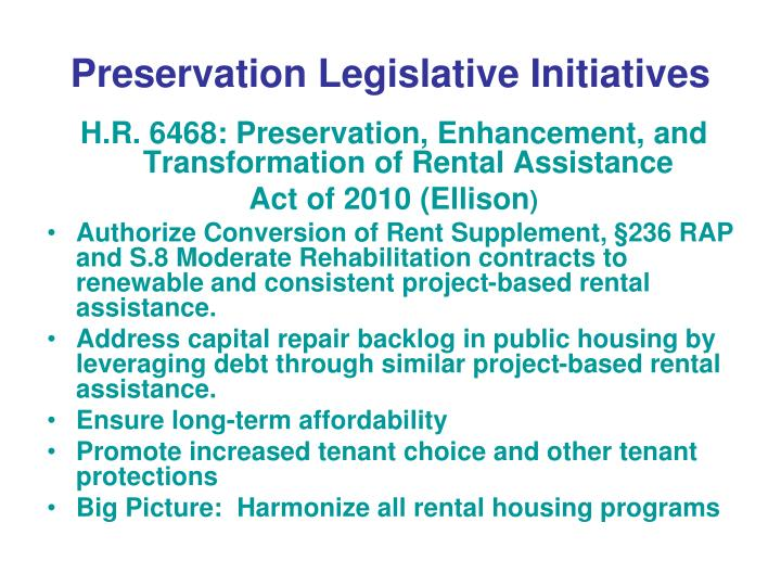 Preservation Legislative Initiatives