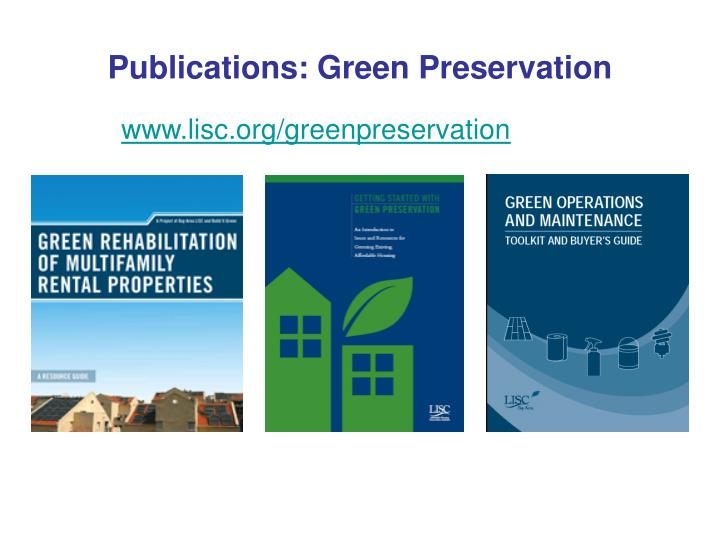 Publications: Green Preservation