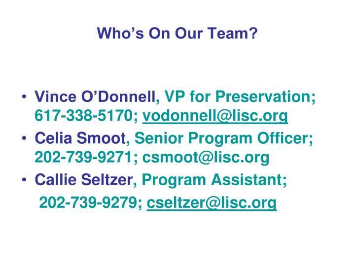 Who's On Our Team?