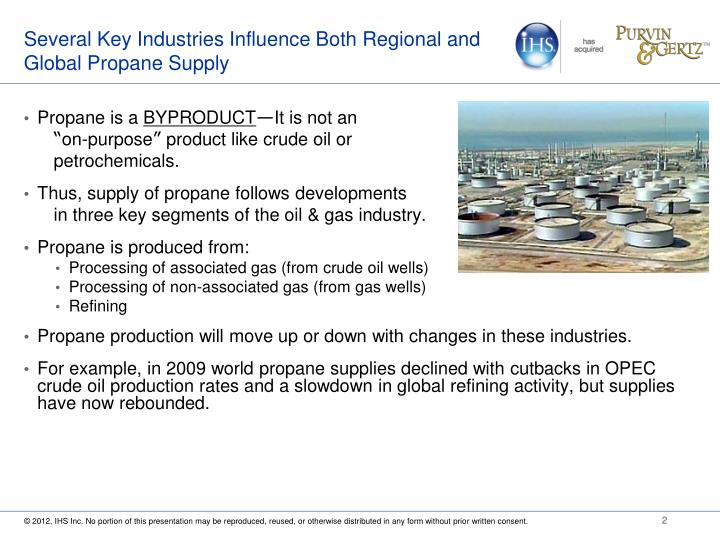 Several key industries influence both regional and global propane supply