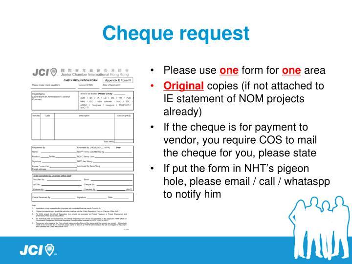 Cheque request