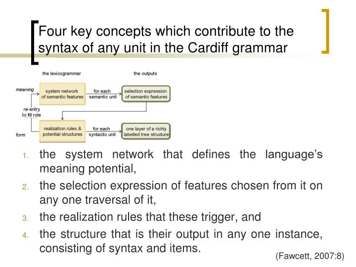 Four key concepts which contribute to the syntax of any unit in the Cardiff grammar
