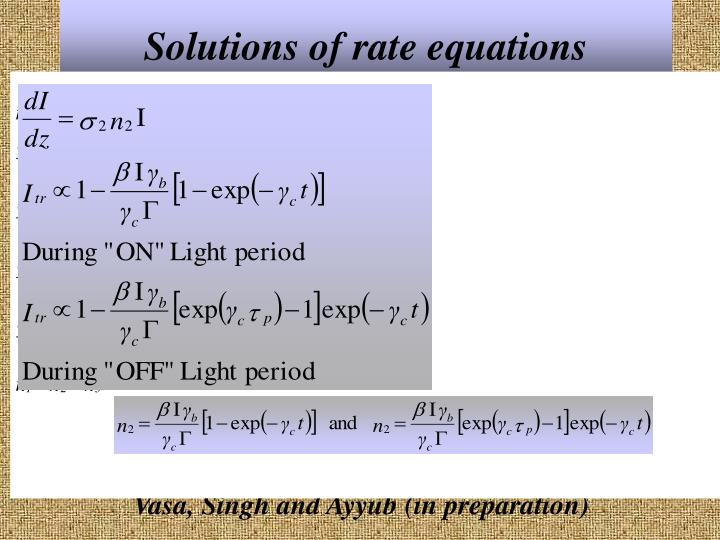 Solutions of rate equations