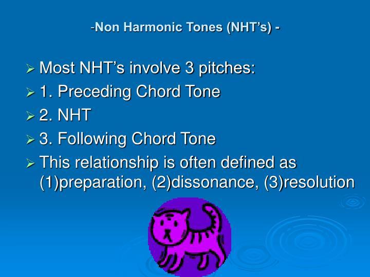 Non Harmonic Tones (NHT's) -