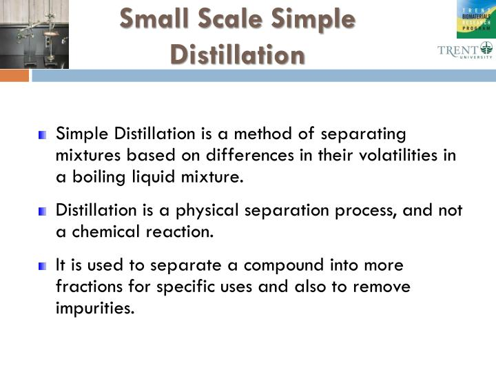 Small Scale Simple Distillation